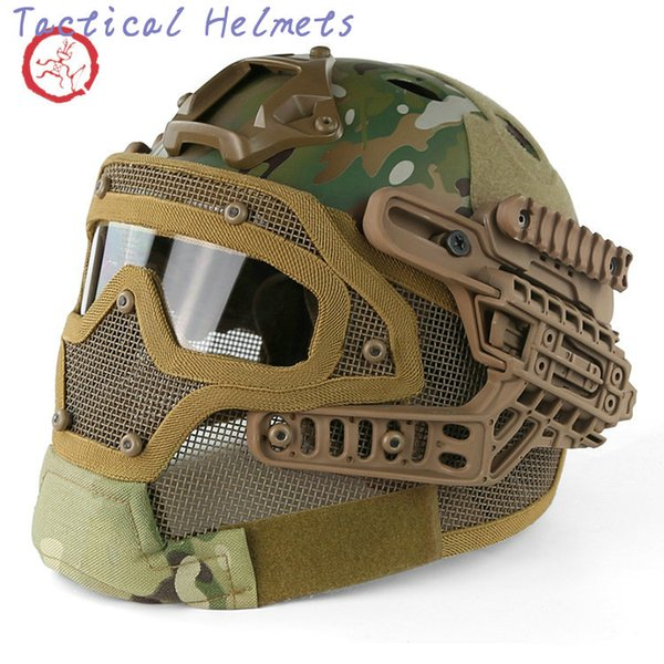 best selling Fast PJ helmet face mask integrated tactical helmet headgear type protective outdoor riding COMBAT helmet ABS + EPS HT015 TETH0010