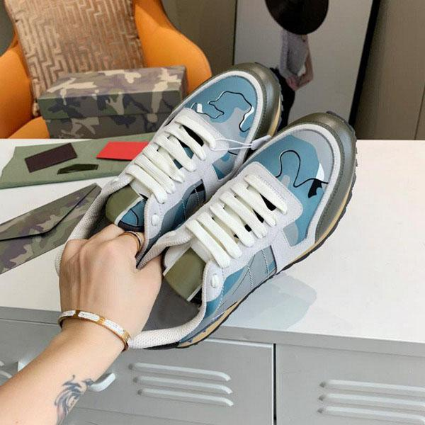 best selling 2021 designer luxury edging fashion stud camouflage sports shoes men and women flat shoes camouflage rock runner sports shoes