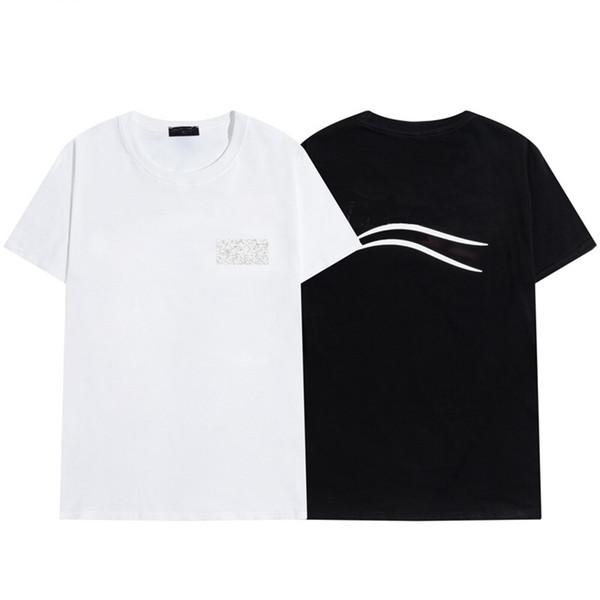 best selling 2021 Mens t shirt Letter Stripe Printing Round Neck Short Sleeve T-shirt Fashion Hobby Designer Black and White S-2XL