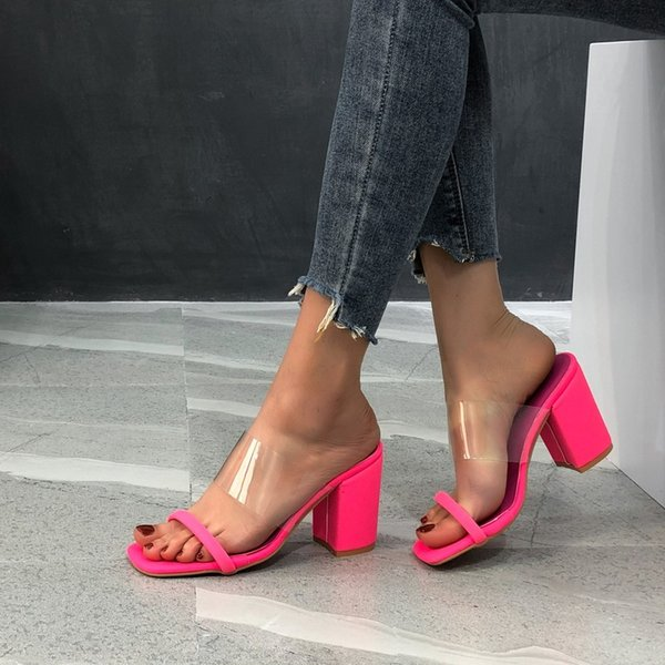 Summer Womens High-heeled Sandals 2021 New Transparent Large Thick Heel Womens Slippers Fashion Casual Womens Shoes Platform