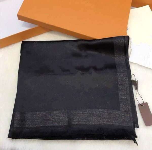 top popular 2021 top quality Classic gold and silver thread silk scarf fashion soft shiny shawl men for women scarves 2021