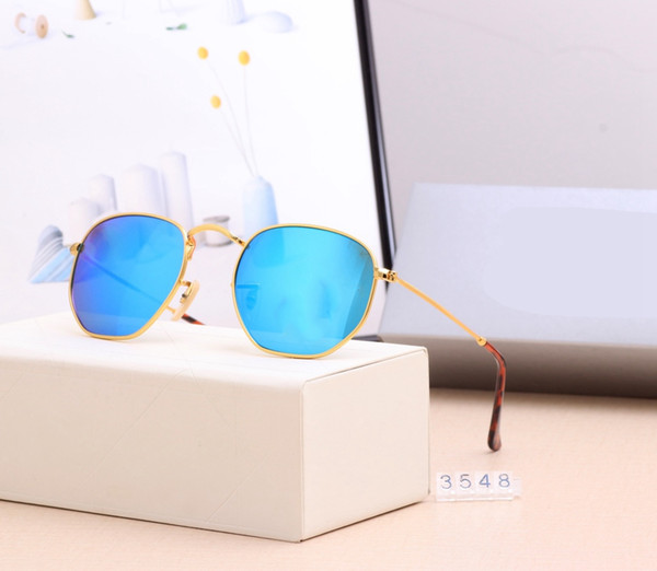 best selling 3548 Top quality polarized Glass lens classical pilot Metal brand sunglasses men women Holiday fashion sun glasses 6 color