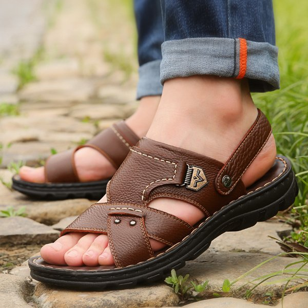 Summer Big Size Mens Sandals British Fashion Genuine Leather Beach Shoes Mens Casual Massage Non-Slip Large Slippers FlatsDress Shoes
