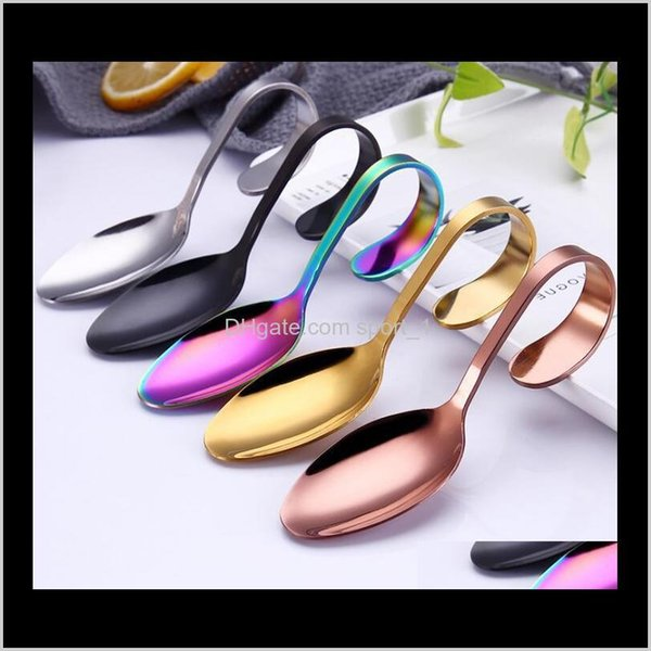 best selling Hotel And Restaurant Use Stainless Steel Canape Serving Spoon 5Colors Eco Friendly Food Serving Spoon With Bendy Handle Wcp2E Jfmp7