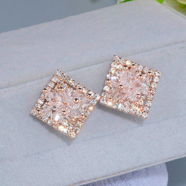 Шпилька элегантные полые блестящие полноценные квадратные серьги-гвоздики для женщин Bijoux Charm Rose Gold цвет цветок серьги Brinco подарок WX089