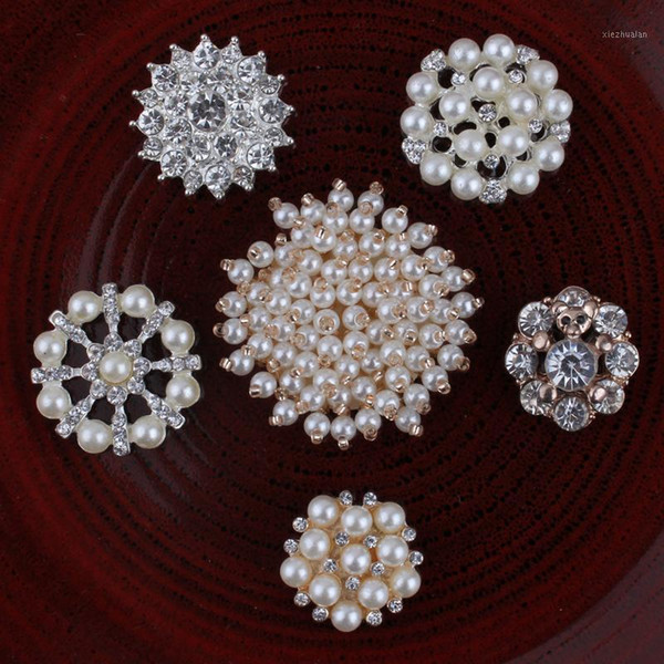best selling 120PCS Handmade Vintage Metal Decorative Buttons Crystal Pearl Flower Center Alloy Flatback Rhinestone Buttons Craft Supplies1
