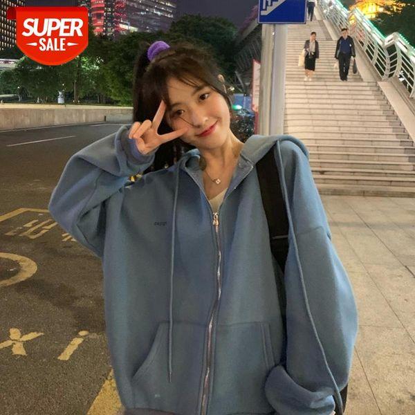 best selling zip-up Women Korean Style hoodies Vintage Solid Color Long Sleeve Oversized Hooded Sweatshirt Lady Women Casual Large Coats #pR8m