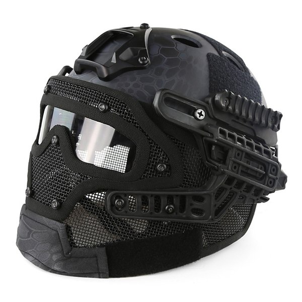 best selling Fast PJ helmet face mask integrated tactical helmet headgear type protective outdoor riding COMBAT helmet ABS + EPS HT015 TETH001