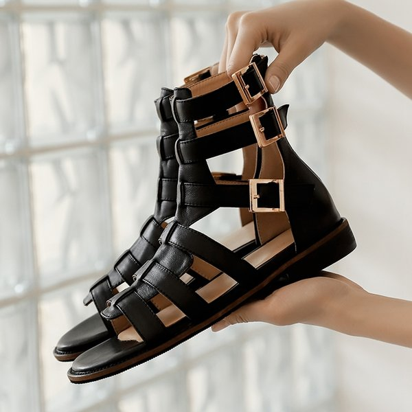 2021 Summer New Women Sandals Women Genuine Leather Fish Mouth Gladiator Sandals Female Fashion Cow Leather Hademade Sandals