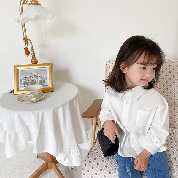 top popular AMBB Korean Quality Newest INS Kids Girls Blouses Long Shirts Lovely Princess Girls Children Tops Tshirts 2021