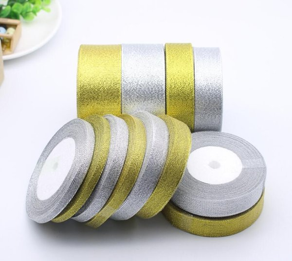 best selling 250 Yards roll Handmade Gold and Silver Onion Ribbon Metallic Luster Wedding Christmas Decoration DIY Webbing Card Gift Wrapping