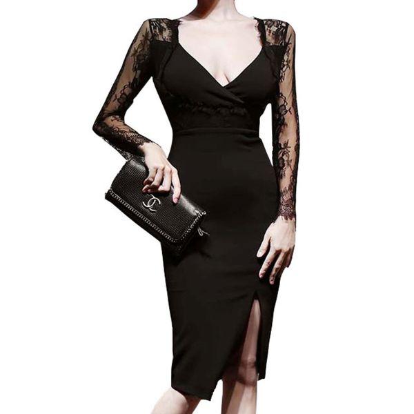 2021 Sexy Deep V Neck Lace Long Sleeve Cocktail Dress Split Side Sheath Office Party Dress Robe De Cocktail Femme evening