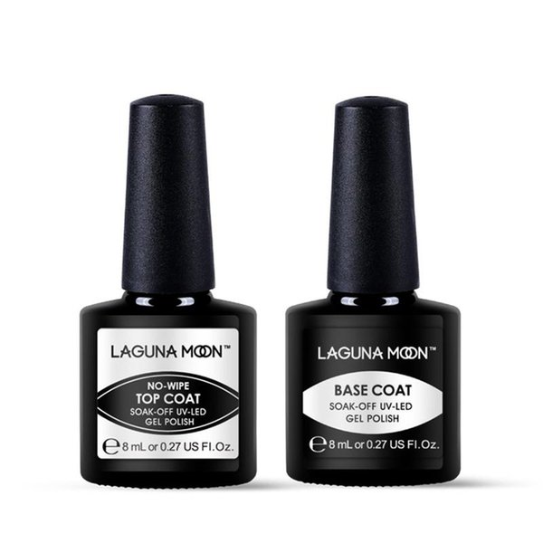 top popular 2Pcs 8ML Lagunamoon No-Wipe Top Coat Base Coat Set Long Lasting Gel Nail Polish Set Uv Led Soak Off Gel PolishUV LED Varnish Manicure Tool 2021