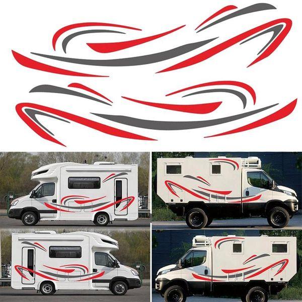 top popular RV Motorhome Universal Body Sticker DIY Stripes image Decal Sticker Decoration for Caravan Trailer 2021
