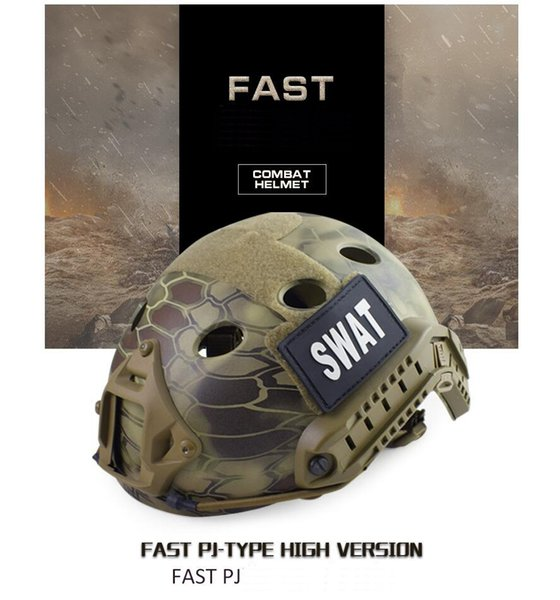 top popular FAST PJ (Round Hole) tactical helmet Real CS field outdoor riding helmet Tactical Helmets ABS+EPP HT006CP 2021