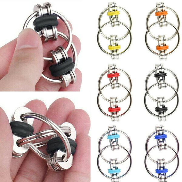 best selling Bike Chain Key Ring Fidget Spinner Flip Finger Spinner Ring Fidget Keychain ADHD Sensory Autism Stress Relief Tool Finger Fun Toy H39XE77