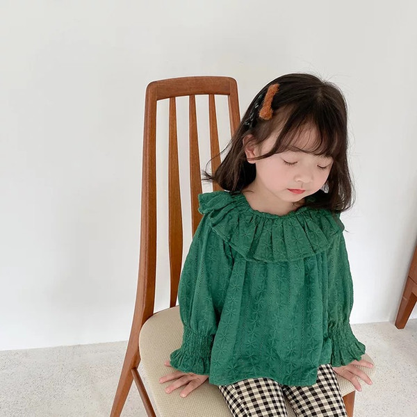 best selling AMBB New INS Korean Style Fashions Kids Girls Blouses Shirts Spring Autumn Lace Lovely Princess Girls Children Tops Tshirts