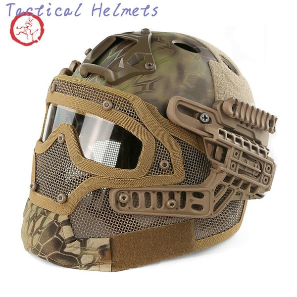 best selling Fast PJ helmet face mask integrated tactical helmet headgear type protective outdoor riding COMBAT helmet ABS + EPS HT015 TETH008