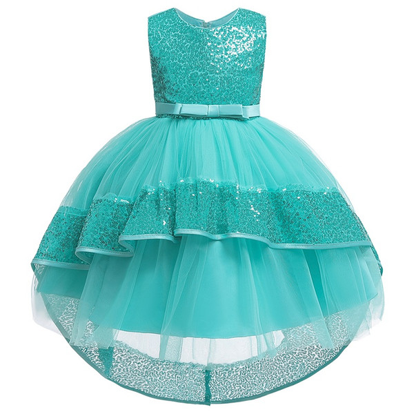 Flower Girl Wedding Party Tail Sequin Dress Princess Birthday Party Baptism Dress Flower Girl Dress for Wedding Party