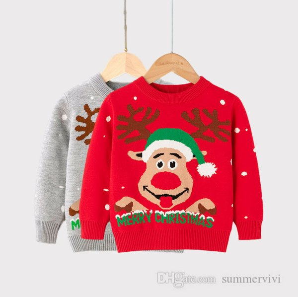 top popular Girls Xmas reindeer snow knitted pullover kids snowman treen printed long sleeve sweater tops christmas children clothing Q2286 2021
