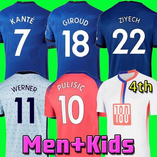 top popular PULISIC ZIYECH HAVERTZ KANTE WERNER ABRAHAM CHILWELL MOUNT JORGINHO soccer jersey 2020 2021 GIROUD football shirt 20 21 men kids kit 4th top 2021