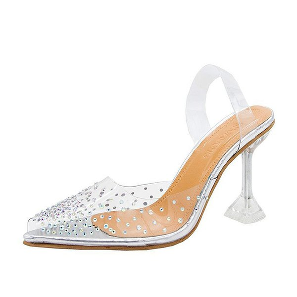 Plus Size 35-42 Summer High Heels Transparent Heels Sandals Pointed Toe Slippers Women Pumps Bling Crystal Jelly Shoes 8197NDress Shoes