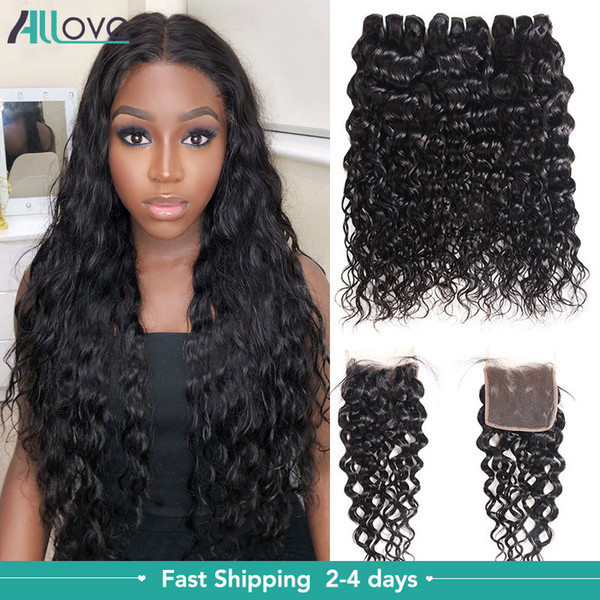 top popular Allove Brazilian Human Hair Bundles With Closure Water Wave Peruvian Hair Deep Loose Wave Curly Body Straight cheap good human hair weave 2021