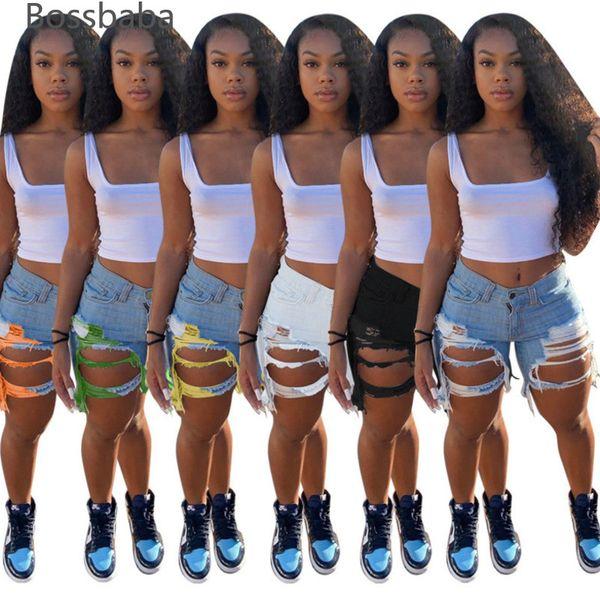 top popular Desinger Summer Women Short Jeans Tassel High Waist Jeans Fashion Designer Vintage Shorts Hole Female Skinny Pants 835-1 2021