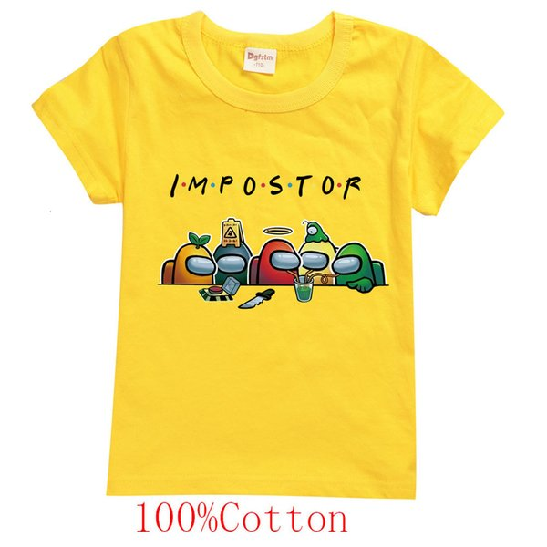 best selling Summer Boys Cartoon Among Us T Shirt Kids Game Impostor Printed Streetwear Children Funny Clothes Baby Girls Tshirt 100% Cotton