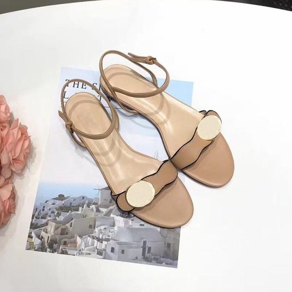 best selling 2021 designers most fashionable design womens sandals metal buckle leather flat bottom size 34-41 comfortable luxury atmosphere
