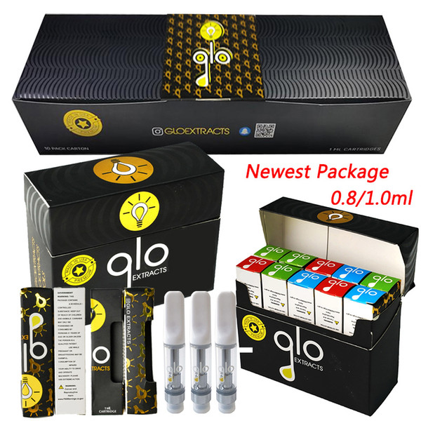 best selling GLO Extracts Vape Cartridges Newest Packaging 0.8ml 1.0ml Carts Ceramic Coil Empty Vape Pen Cartridge GLO Atomizers Thick Oil Vaporizer