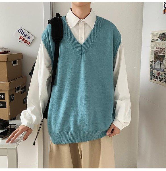 Chalecos de suéter azul