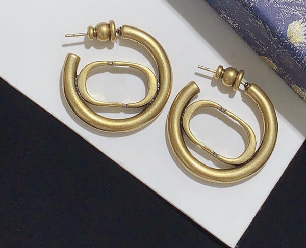best selling Have stamp fashion letter hoop earrings aretes orecchini for women party wedding lovers gift jewelry engagement with box hot