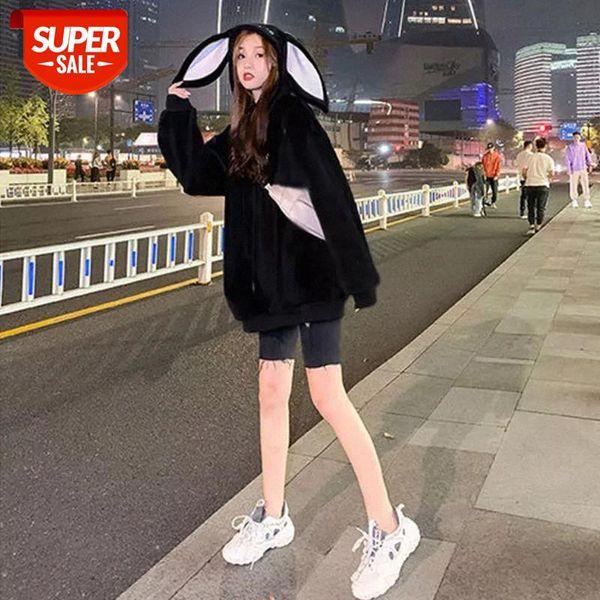 top popular Rabbit Ears oversized women Sweatshirt Cute harajuku Korean Style Velvet Thick Hoodie Women clothes Loose Pullover Pocket Tops #KG1c 2021