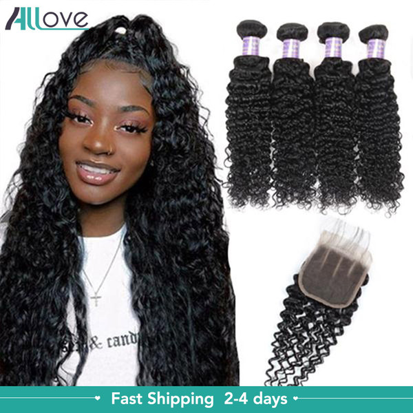 best selling Water 4PCS with Lace Closure Malaysian Body Straight Human Hair Bundles with Closure Brazilian Hair Indian Curly Hair Extensions Deep Loose