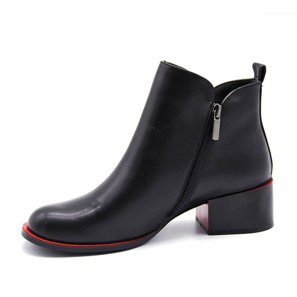 2021 Winter New Square Heel Round Toe Women Genuine Leather Buckle Ankle Boots Kitten Heel Oxford Boots Side Zipper Casual Shoes