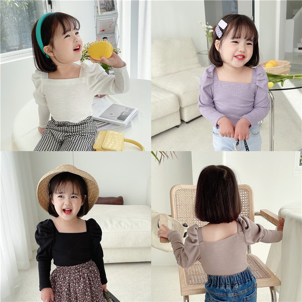 best selling Summer New INS Little girls ribbed t-shirt autumn blank puff sleeve cotton fashion bountique clothes winter fall girls top 2-7 years