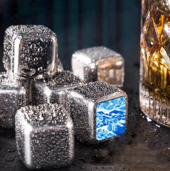 best selling Stainless Steel Ice Cube buckets Coolers Reusable Chilling Stones for Whiskey Wine Keep Your Drink Longer Cold Metal Whiskeys Red Wines