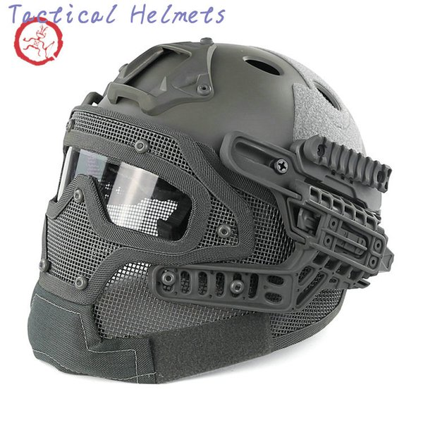 best selling Fast PJ helmet face mask integrated tactical helmet headgear type protective outdoor riding COMBAT helmet ABS + EPS HT015 TETH0013