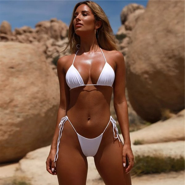 top popular Fashion Solid Bikini Off Shoulder Backless Swimsuit Sexy Beach Bikini Set Women Summer Waist Swimwear Cool Polyester Swimsuit 2021