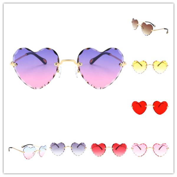 best selling Women Stylish Heart Shaped Rimless Sunglasses Thin Metal Frame Uv Protection Sun Glasses for Beach Vacation Festival Fishing