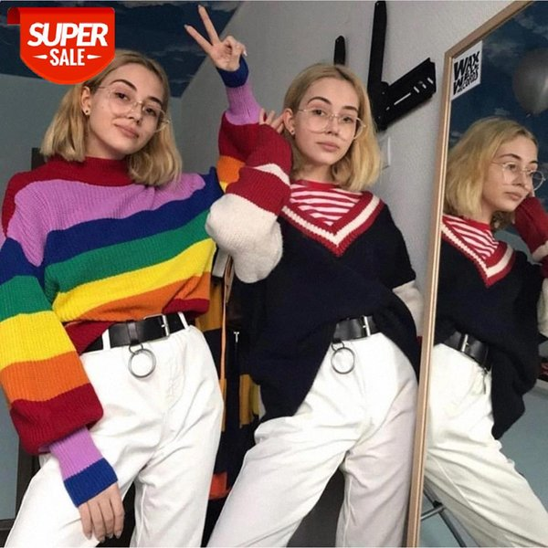 best selling 2020 NEW Turtleneck Rainbow Striped Sweaters Women Casual Autumn Loose Knitted Pullovers Ladies Knitwear #yH9b