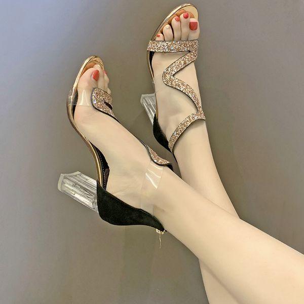 elegant gold glitter crystal clear heels party wedding shoes woman high heeled pvc transparent summer sandals woman pumpsDress Shoes