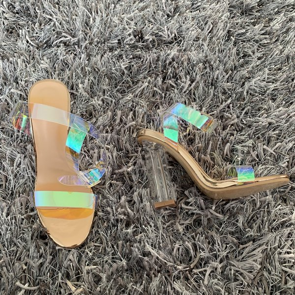 Summer PVC Clear Transparent Strappy High Heels Shoes Women Sandals Peep Toe Sexy Party Female Ladies Shoes Woman Sandalias