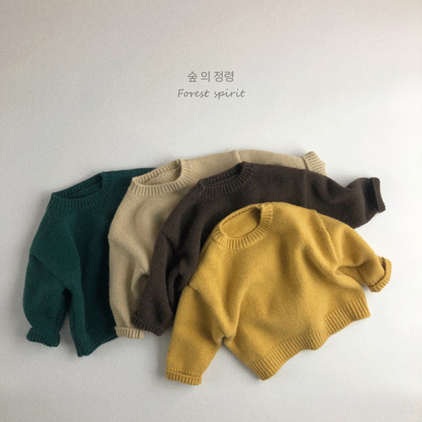 top popular WD Newest Korean Great Quality INS Plain Kids Boys Girls Pullover Sweater Soft Knitted Top Autumn Winter Children 2021