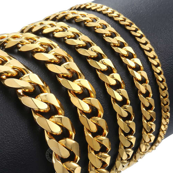 Wholesale jewels for men for sale - Group buy hain Link Bracelets mm Stainless Steel polished Bracelet for Men Curb Chain Cuban Link Men s Bracelet Black Gold Silver Color Jewel