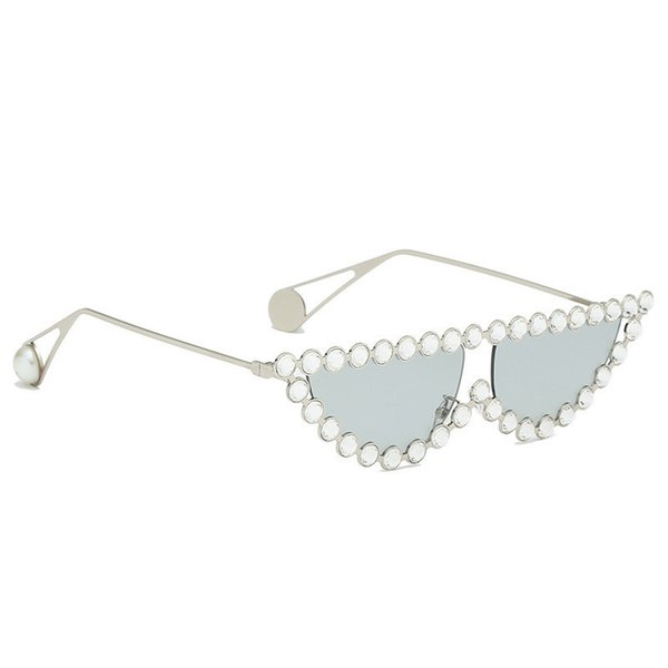 top popular 2020 Sexy Cat Eye Sunglasses Women Rimless Vintage Rhinestone Sun Glasses Female Lady Candy Color Eyewear Triangle Shades Uv400 2021
