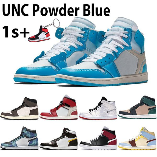 With Box 1 1s High Basketball Shoes UNC Powder Blue Chicago White Travis Scotts Black Noble Red South Beach Mens Sneakers