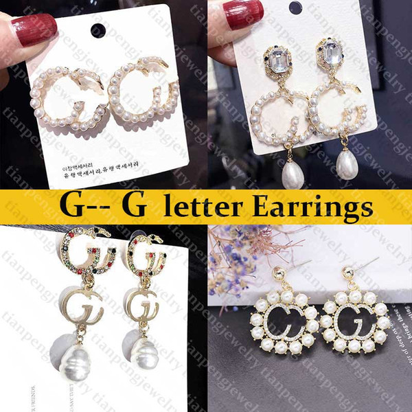 top popular G letter Designer Earrings Famous Women Stud Earrings Exquisite Charming Diamond Pearl Earring Fashion Designer Jewelry Instock Best Quality 2021