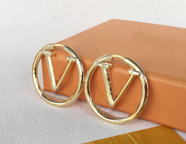best selling BIG SIZE 1.75 inch Fashion gold hoop earrings for lady women Party wedding lovers gift engagement jewelry With BOX
